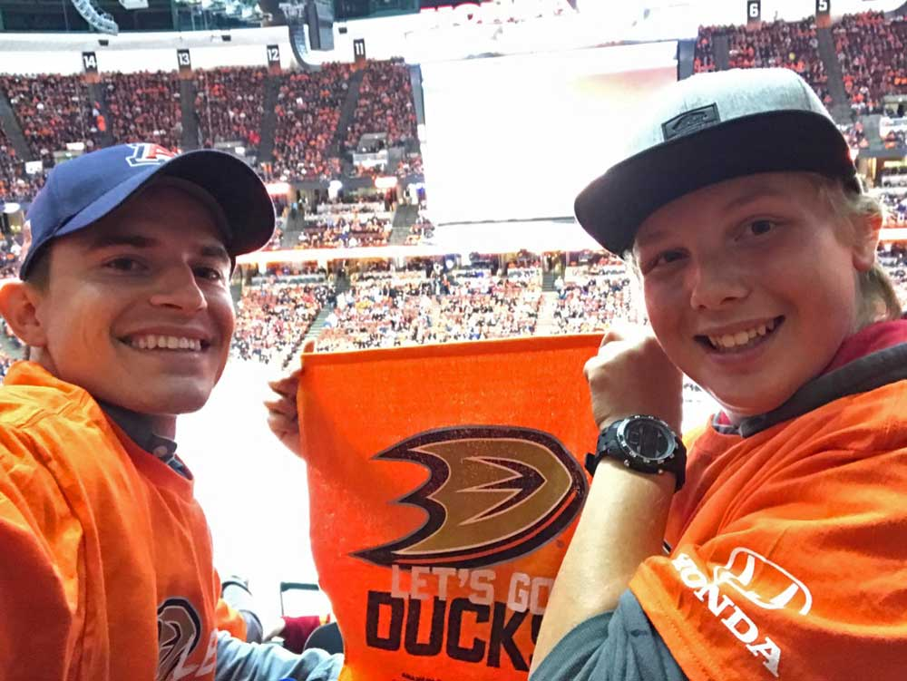 Big Brother Adam and his mentee Dominic attend an Anaheim Ducks game.