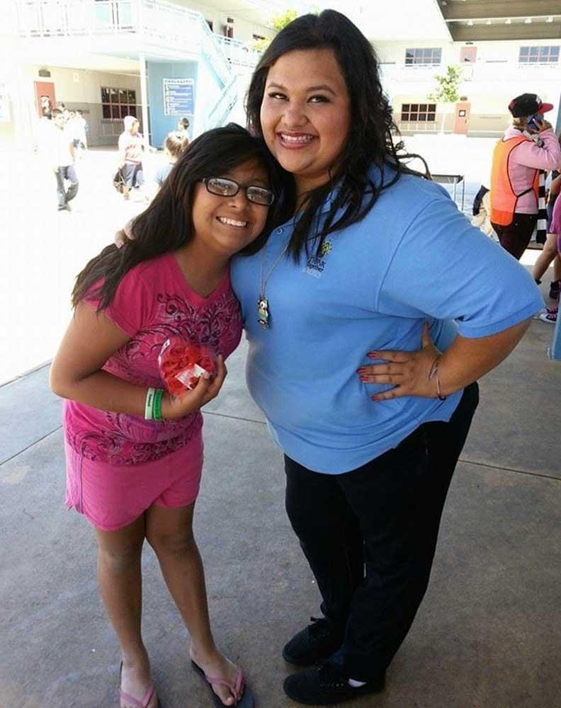 High School Volunteer of the Year Esmeralda when she was a Little in the High School Bigs program.